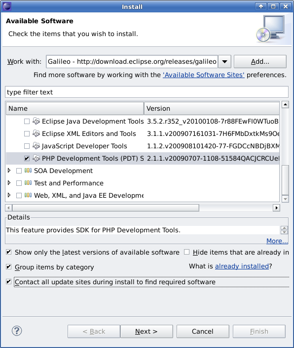 How to install PHP Plugin for Eclipse 3.5 (Galileo)