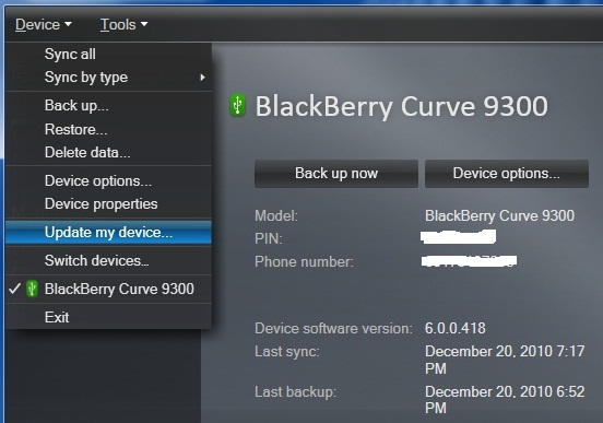 Downgrade BlackBerry OS