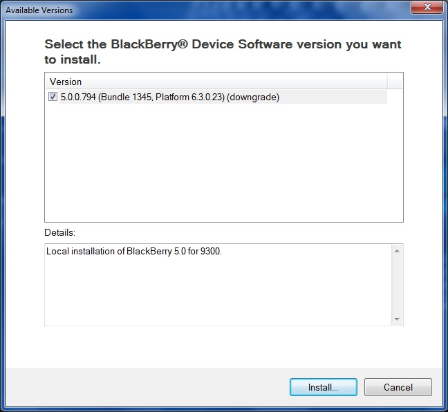 Downgrade BlackBerry OS step 6