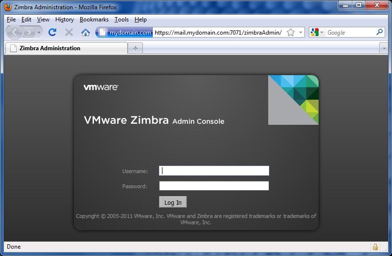 Zimbra Admin Console Login page