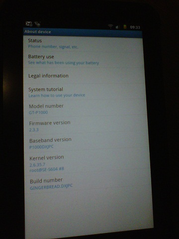 Galaxy Tab Android 2.3.3