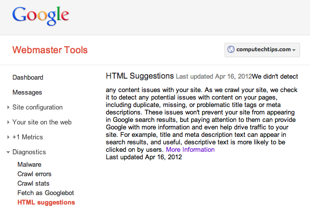 Google Webmaster Diagnostics