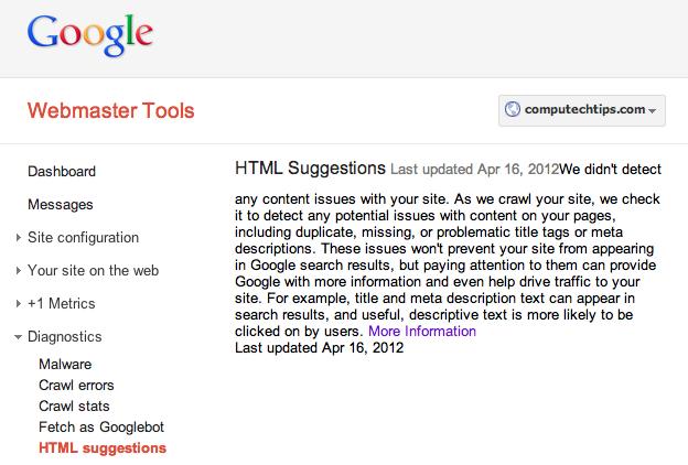 Google Webmaster Diagnostics