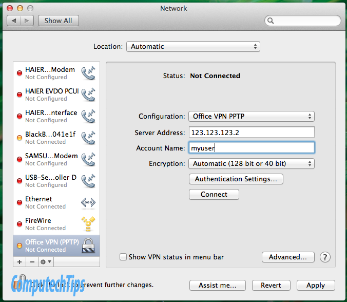 setting up a vpn mac lion