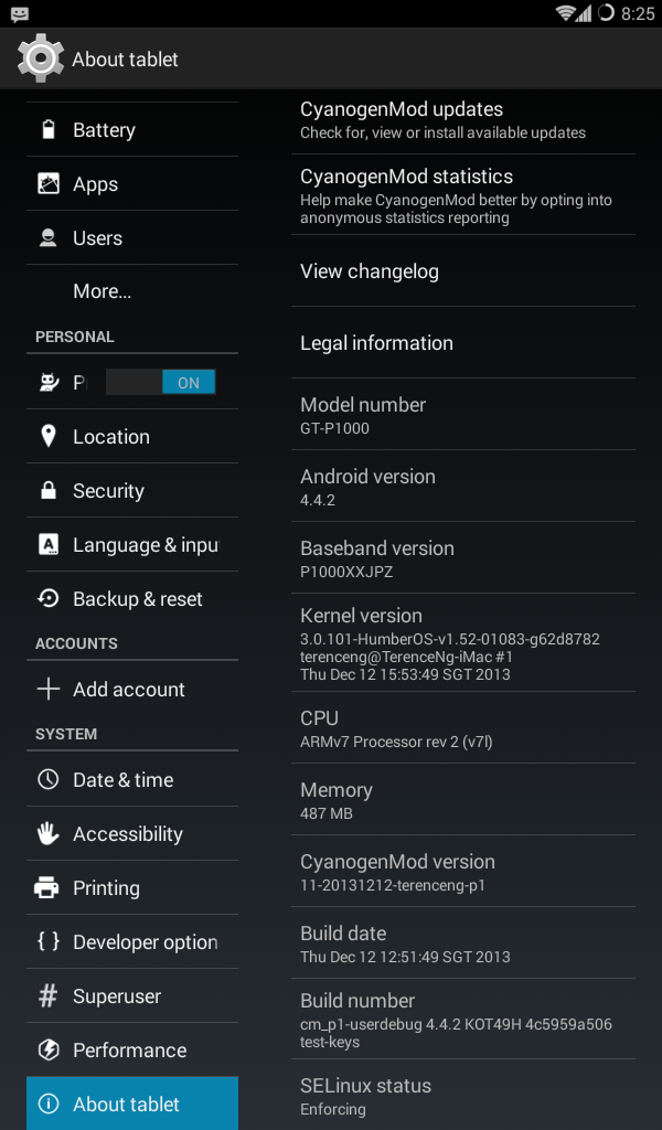 Android 4.4.2 on Galaxy Tab P1000