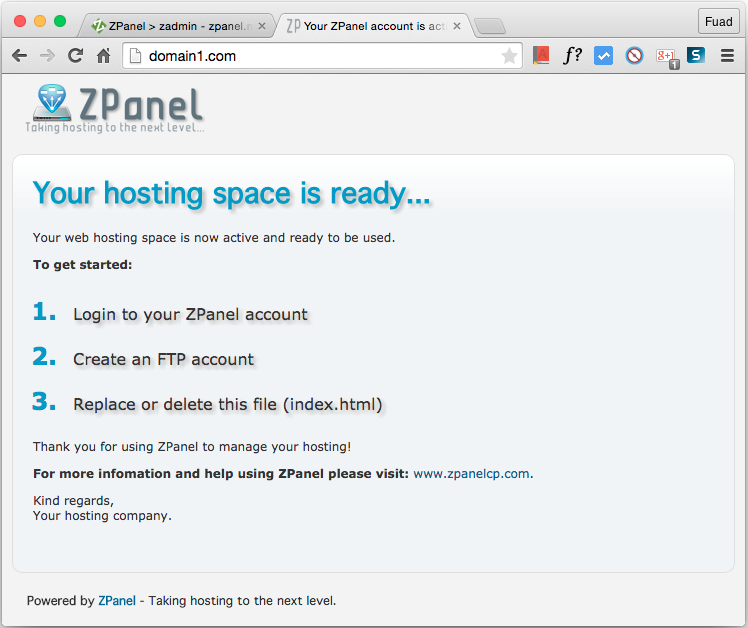 Domain and Web Hosting on ZPanel