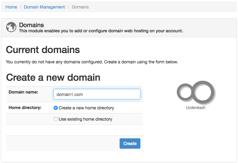 ZPanel create new domain