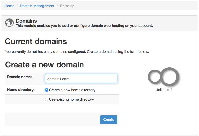 ZPanel create new domain
