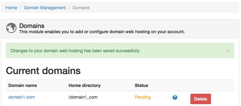 ZPanel current domains