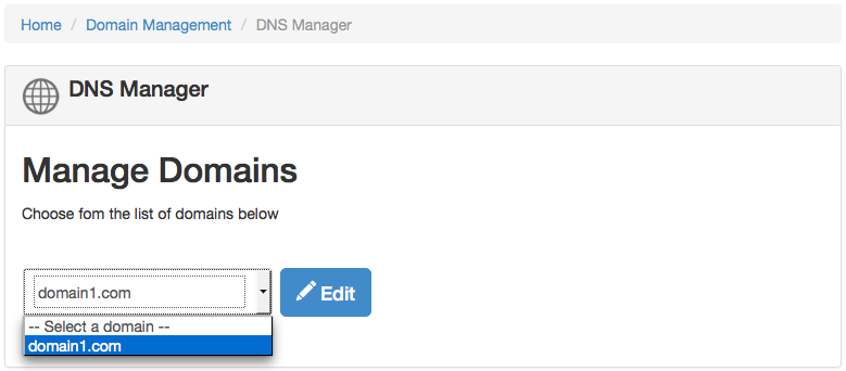 ZPanel Manage Domains