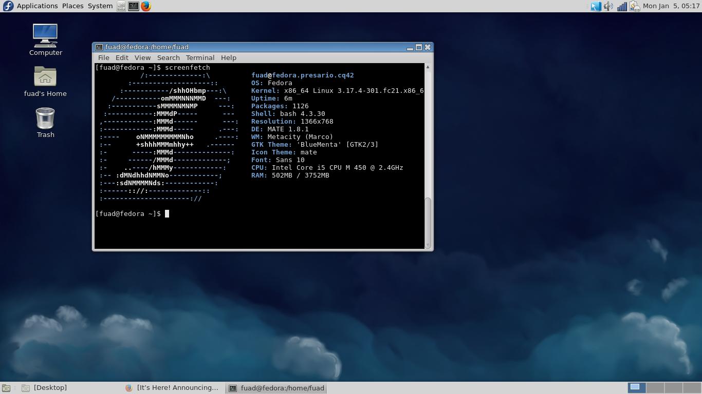 Fedora 21 on Compaq Presario CQ42