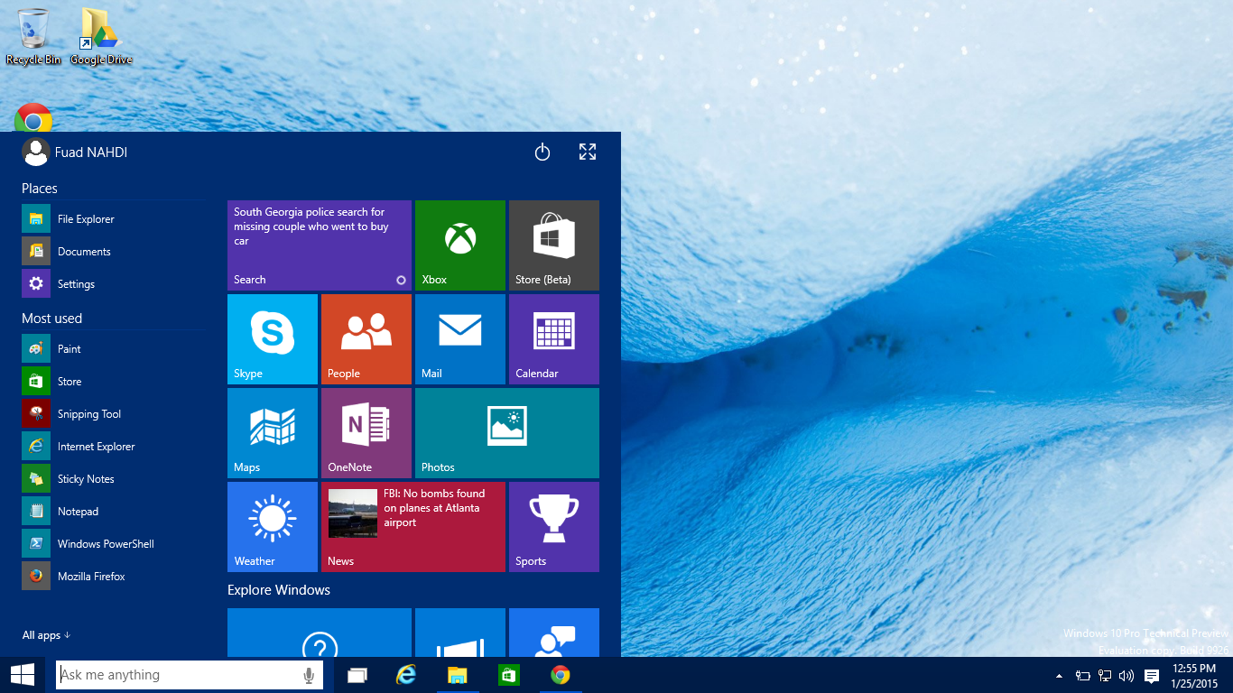 Windows 10 Pro Technical Preview