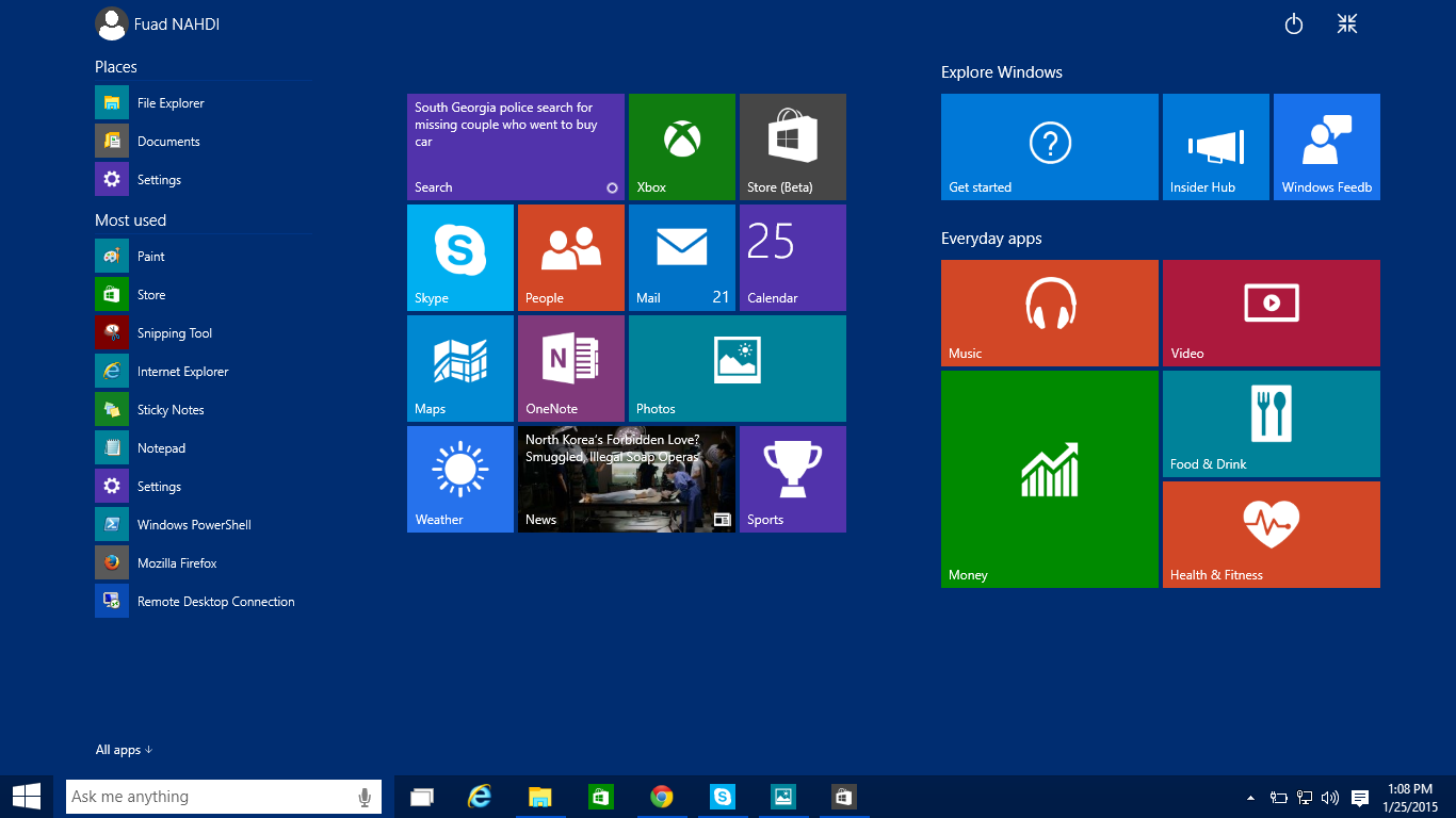 Windows 10 pro technical preview screenshots techonia for New to windows