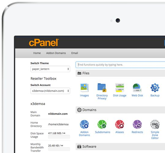 cPanel on iPad