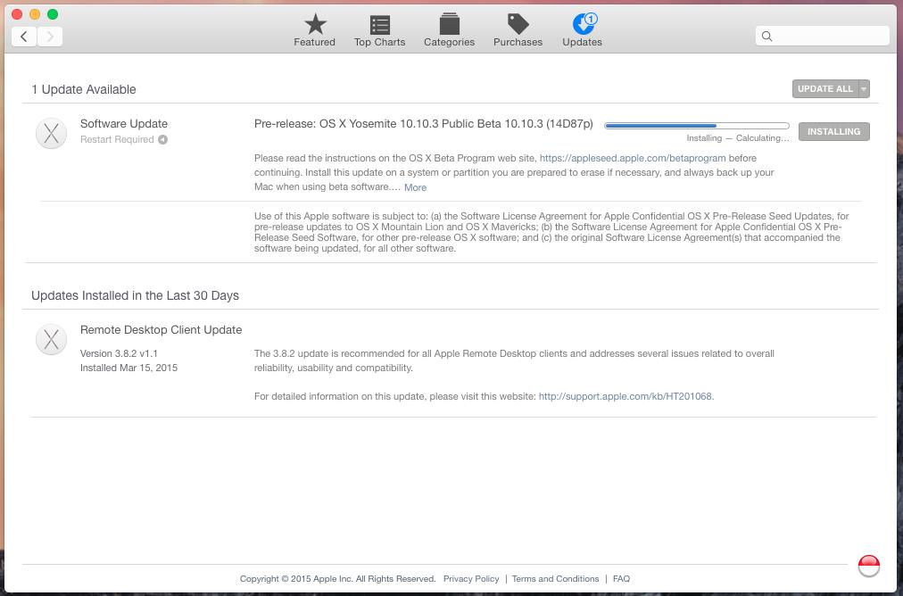 OS X Yosemite 10.10.3 Updates