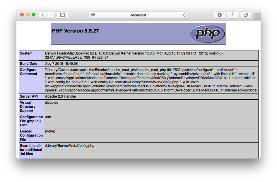 Enable PHP on OS X El Capitan