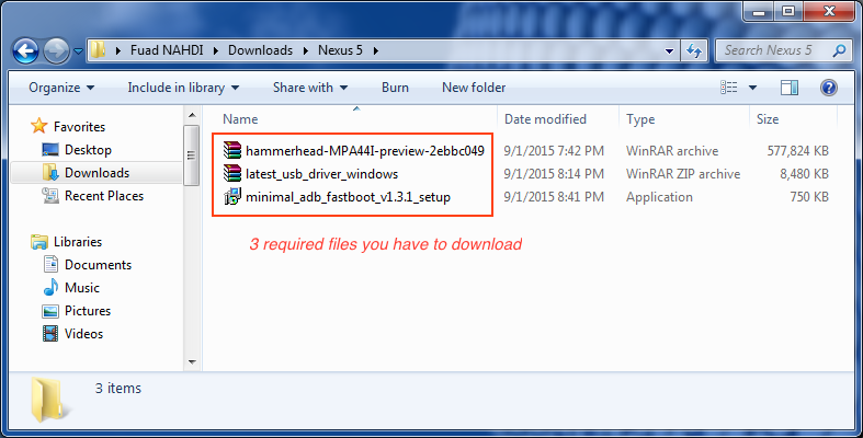 Required files to flash Nexus 5