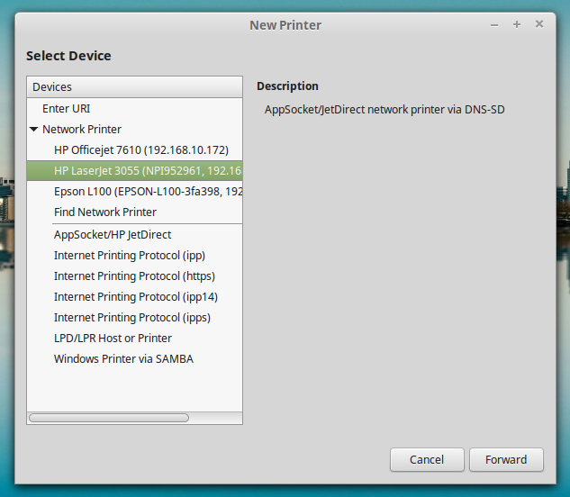 New Printer HP Laserjet 3055 on LinuxMint