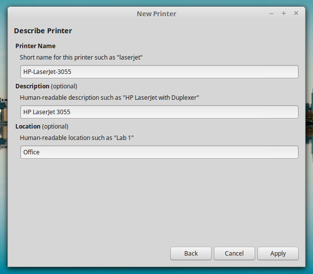 Printer Description HP LaserJet 3055 on LinuxMint