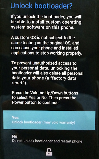 Unlock bootloader warning