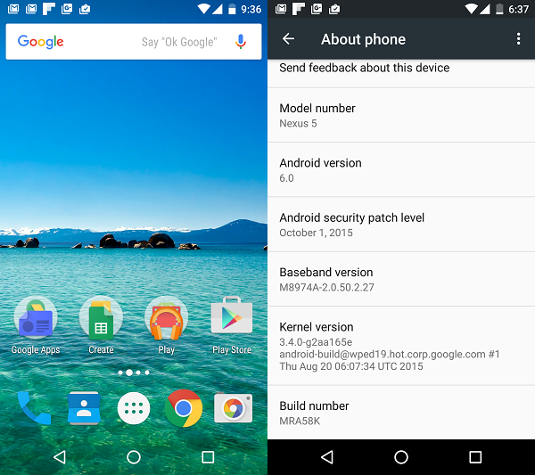 Android 6 Marshmallow on Nexus 5