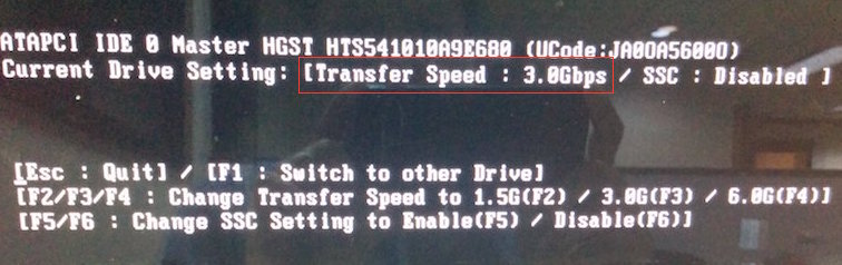 Transfer Speed changed to 3Gbps
