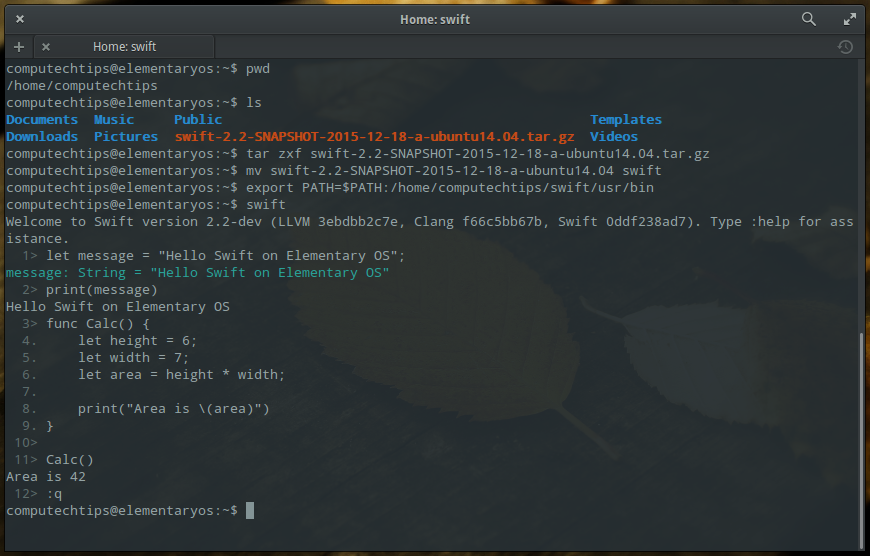 swift on elementary os