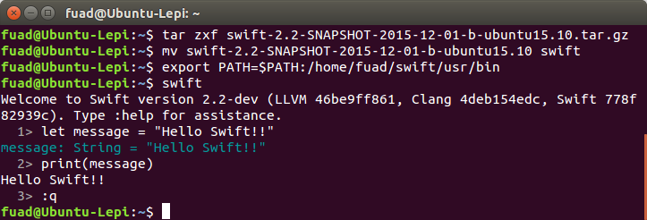 swift on ubuntu