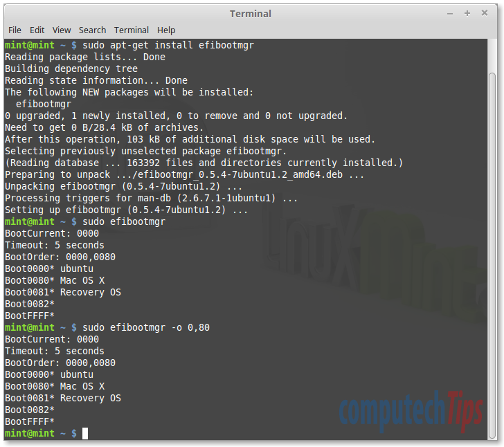 Linux Mint 17.3 on MacBook - EFI Boot Manager