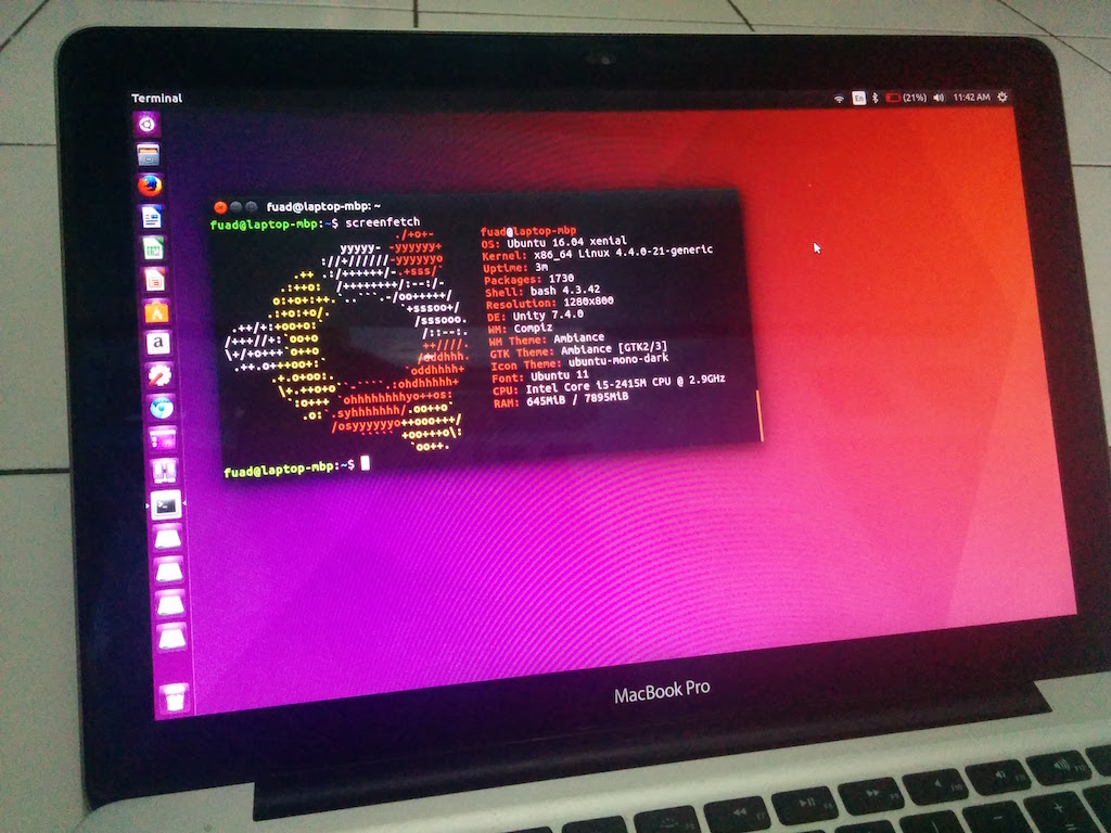 Ubuntu 16.04 Running on MacBook Pro – Techonia