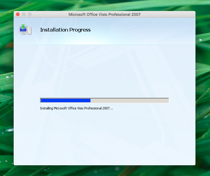 Install Microsoft Visio Mac installation progress